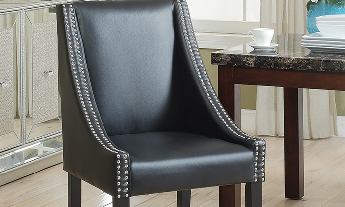 Leather Dining Chair Set 2 Pc Groupon Goods
