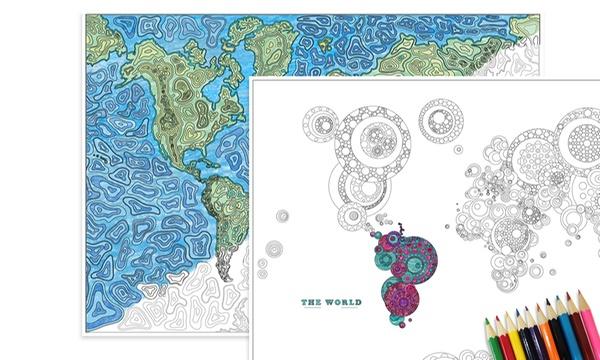 Carte Du Monde A Colorier Avec Ou Sans Crayons De Couleur Des 5 99 Jusqu A 68 De Reduction