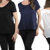 Women's Short-Sleeve Chiffon-Back Top in Regular and Plus Sizes