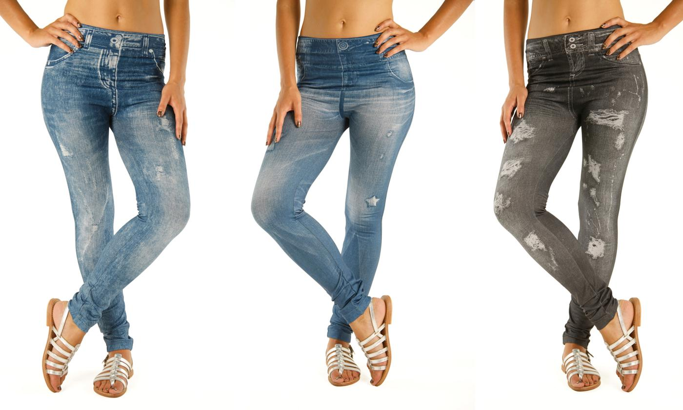 Three- or Six-Pack of Slimming Effect Jeggings