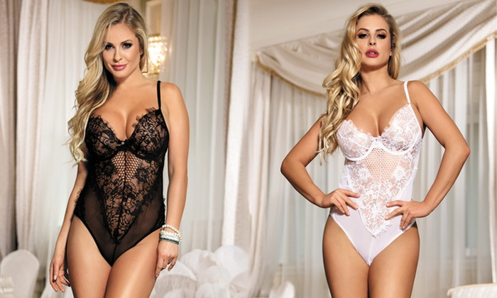 Black or White Lips and Cherry Lace Bodysuit for £11.99