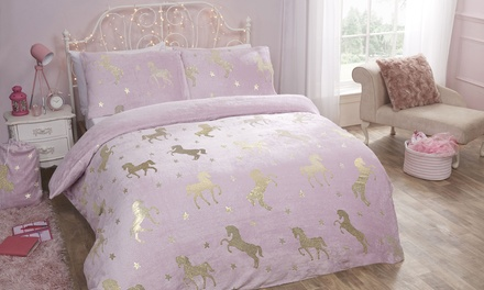 Pieridae Cosy Fleece Shimmer Unicorn Duvet Set