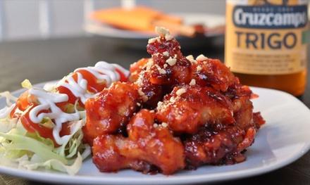 Menú coreano para 2 o 4 con 3 entrantes, principal, bebida y postre en Han's Cocina Coreana