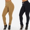 Junior Women's Stretchy High-Waist Skinny Pants with Chain