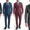 Hollywood Celebrity Men's Slim-Fit Sharkskin Suits (2-Piece)