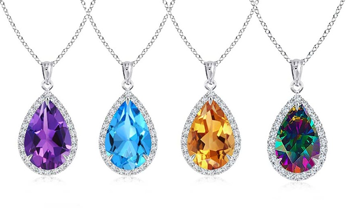 0c6485928 Genuine Gemstone 4.00 CT Pear Cut Necklace in Sterling Silver