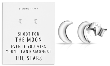 One or Two Pairs of Philip Jones Friendship Quote Moon Earrings