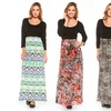 Retro- or Floral-Printed Long-Sleeve Maxi Dresses (2-Pack)