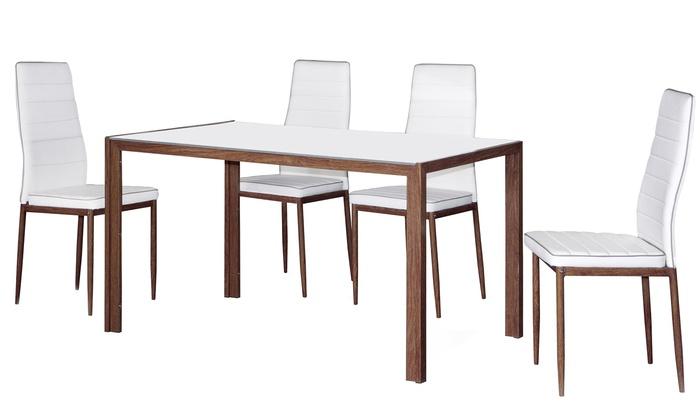 Tavolo e 4 sedie, disponibili in 2 set e 4 colori
