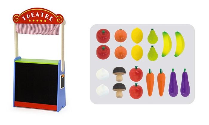 TitoloSet gioco Viga, teatro e negozio alimentari in legno, per bambini