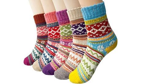 Paquete de 5 o 10 calcetines de lana de invierno para mujer