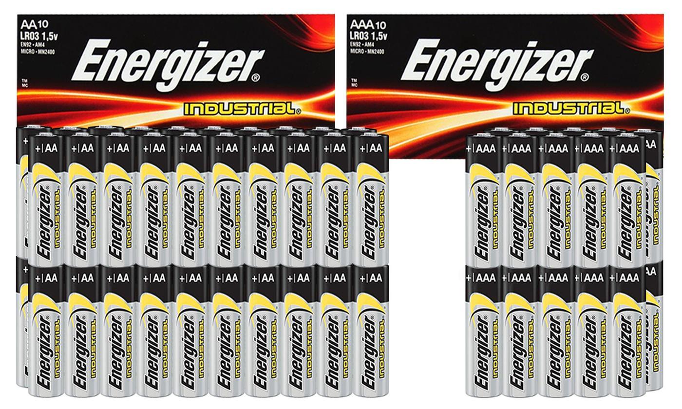 Up to Six Ten-Packs of Energizer Industrial Alkaline AA LR06 or AAA LR03 Batteries