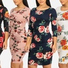 Casual Floral-Print 3/4-Sleeve Slip-On Fitted Bodycon Midi Dress