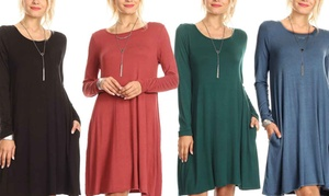 Nelly Women's Long-Sleeved Dress with Pockets. Plus Sizes Available.