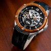 Heritor Montclair Men's Automatic Leather Watch with Skeleton Dial