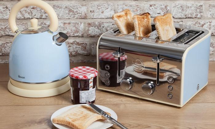 Retro Tabak Keukens : Swan kettle and 4 slice toaster groupon goods