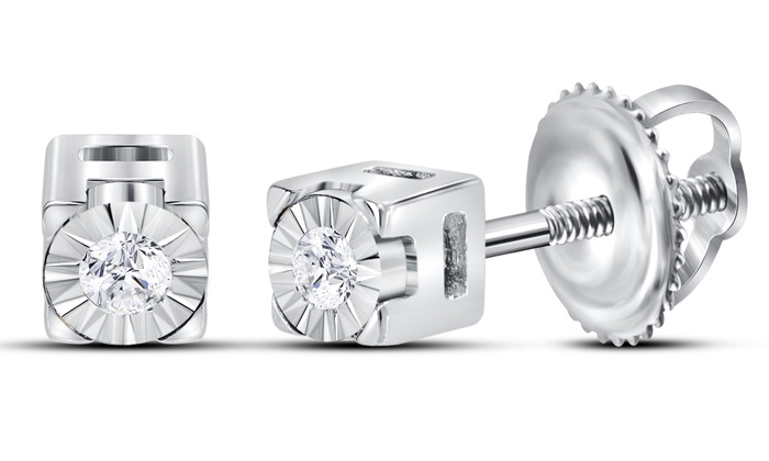 69d1c8e0c 1/20 CTTW Diamond Solitaire Earrings in Sterling Silver by Sonneta