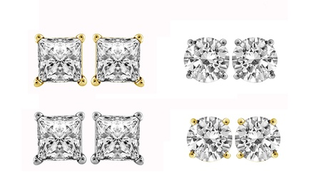 1.00 CTTW Diamond Stud Earrings in 14K Gold by Brilliant Essence Value Collection