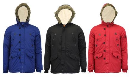 Men's Brave Soul FleeceLined Hooded Parka in Choice of Colour