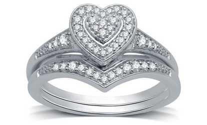 Shop Groupon 1 4 CTTW Diamond Composite Heart Frame Bridal Set In Sterling Silver