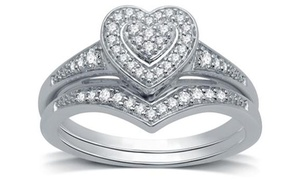 1/4 CTTW Diamond Composite Heart Frame Bridal Set in Sterling Silver