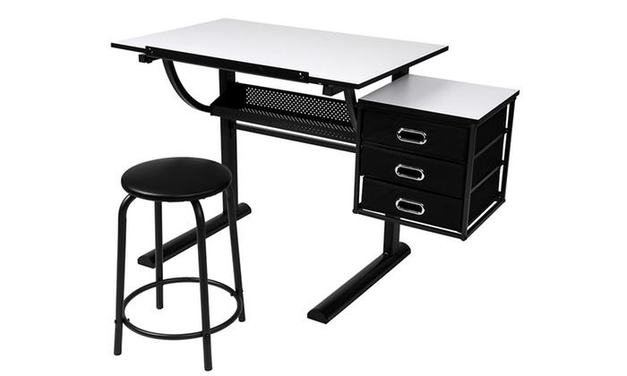Tavolo Da Disegno Portatile : Tavolo disegno cassettiera e sgabello groupon goods