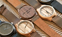 Custom Engraved Wood Watches with Leather Straps (All Fees Charged in USD)
