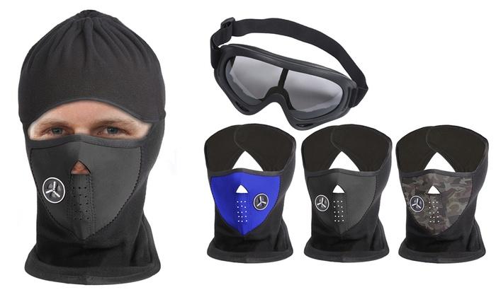 Unisex Fleece Ski Mask and Goggle Bundle