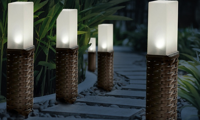Four or Eight Brown Woven Rattan-Effect Post Solar Lights (£12.98)