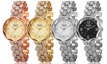 Burgi Damen-Armbanduhr in der Farbe nach Wahl, verziert mit Kristallen von Swarovski® (84% sparen*)