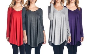 Women's Long Sleeve V-Neck Tunic Top. Plus Sizes Available.