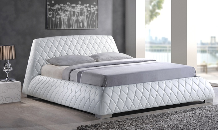 Diamond stitched upholstered bed groupon goods for Beds groupon