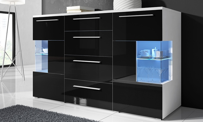 buffet laqu led groupon shopping. Black Bedroom Furniture Sets. Home Design Ideas