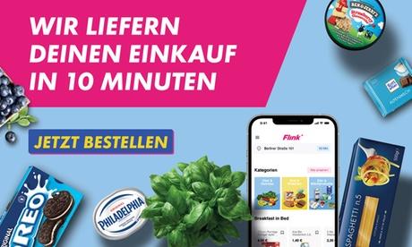 Wertgutschein über 10 € anrechenbar auf das gesamte Sortiment in der App des Online-Supermarkts Flin
