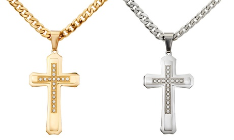 Rocawear Men's Cubic Zirconia Double Cross Stainless Steel Necklace ef07ca00-d2b1-451f-9b30-b59e20aa442e