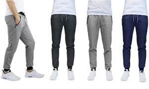 Men's Marled Tech Fleece Joggers with Zipper Pockets (2-Pack)
