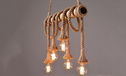 Lampadario con corde e tronco in bambù