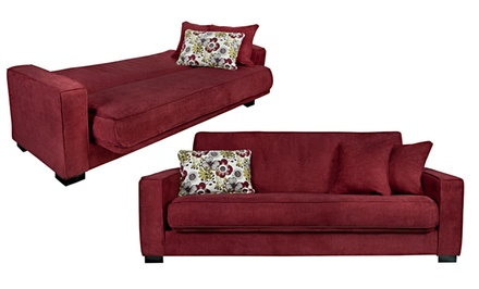 Handy Living Convert-a-Couch with 3 Throw Pillows. Multiple Colors Available.