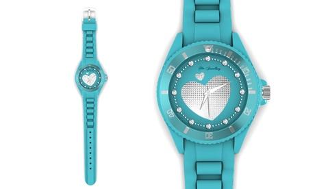 Reloj azul con corazón adornado con cristales de Swarovski®