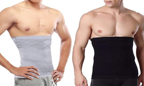 One or Two, Black or Grey Men's Compression Waist Body Shapers in Choice of Size