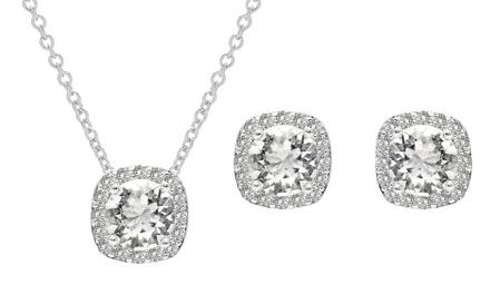 Parure collier et boucle d'oreilles ornée de cristaux Swarovski®