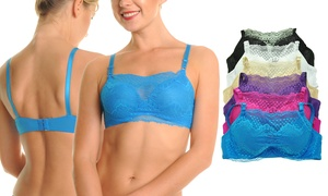 Angelina Floral Lace-Paneled Modesty Bras (6-Pack)