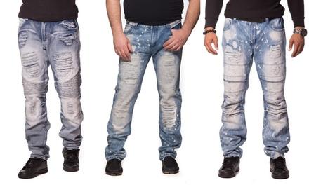 Men's Distressed Biker Denim Jeans