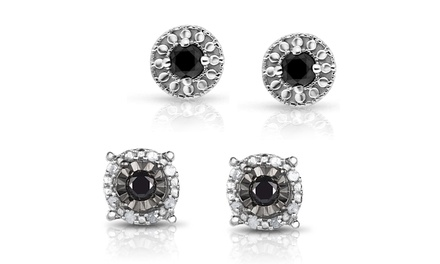 1/4 or 1/3 CTTW Black Diamond Studs in Sterling Silver