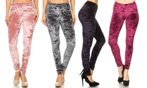 Style Clad Women's Crushed Velvet Leggings