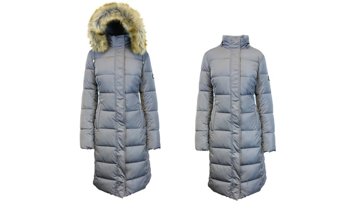 Spire By Galaxy Women's Long Heavyweight Bubble Parka with Detachable Hood in Regular and Plus Sizes