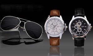 (Bijou)  Montre et lunettes de soleil homme -84% réduction