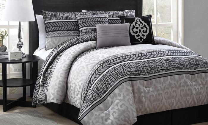 Piece Complete Bed Set Blue King Jacquard