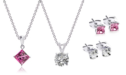 Set of Three Pendants and Stud Earrings Made with Crystals from Swarovski®
