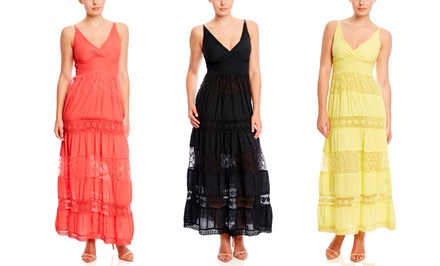 JUST LOVE Sleeveless Crochet V-Neck Maxi Dress from $19.99 | Brought to You by ideel